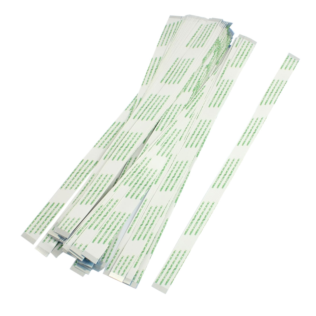 250mm x 12mm Flexible Flat 24 Pins FFC Cable White Green 100 Pcs