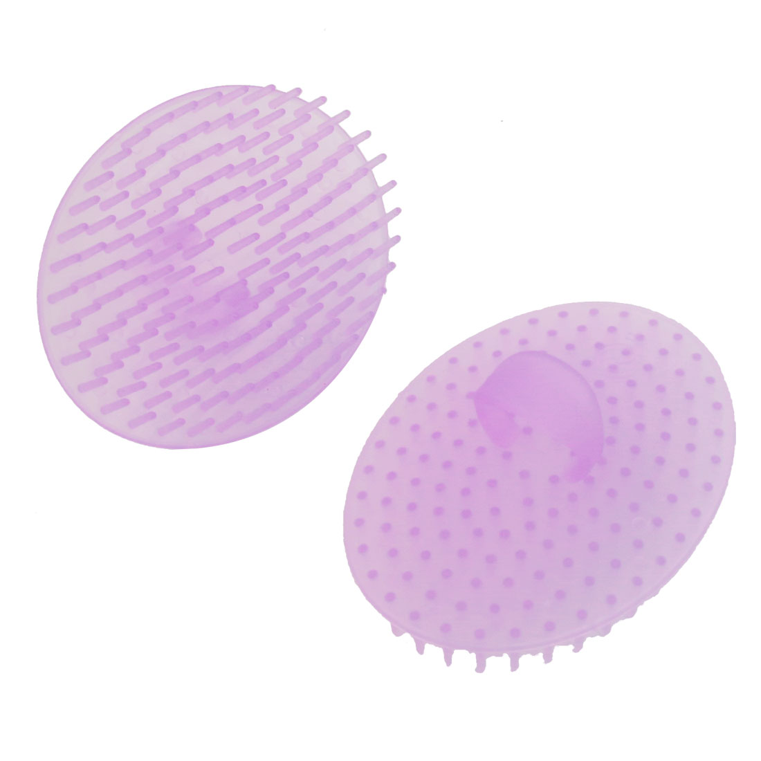 2 Pcs Light Purple Plastic Oval Shaped Hair Washing Comb for Pet