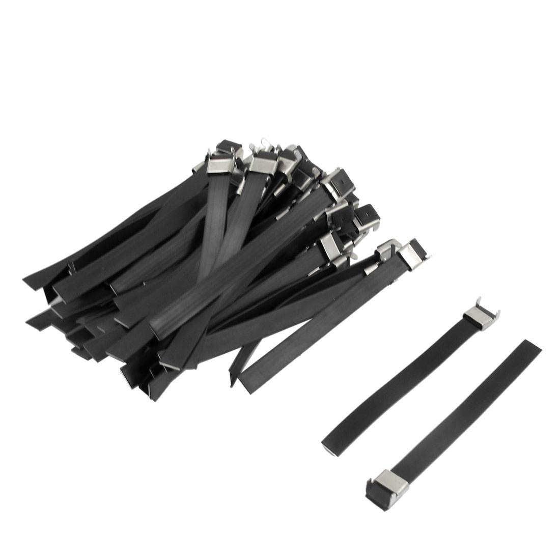 Black Stainless PVC Sprayed Self Locking 12x150mm Cable Ties Wire Strap 50 Pcs