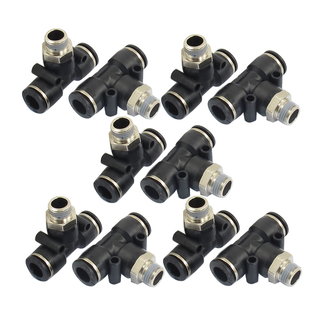 "10 Pcs 1/4"" PT Male Thread 10mm One Touch Push In T Joint Quick Fittings"