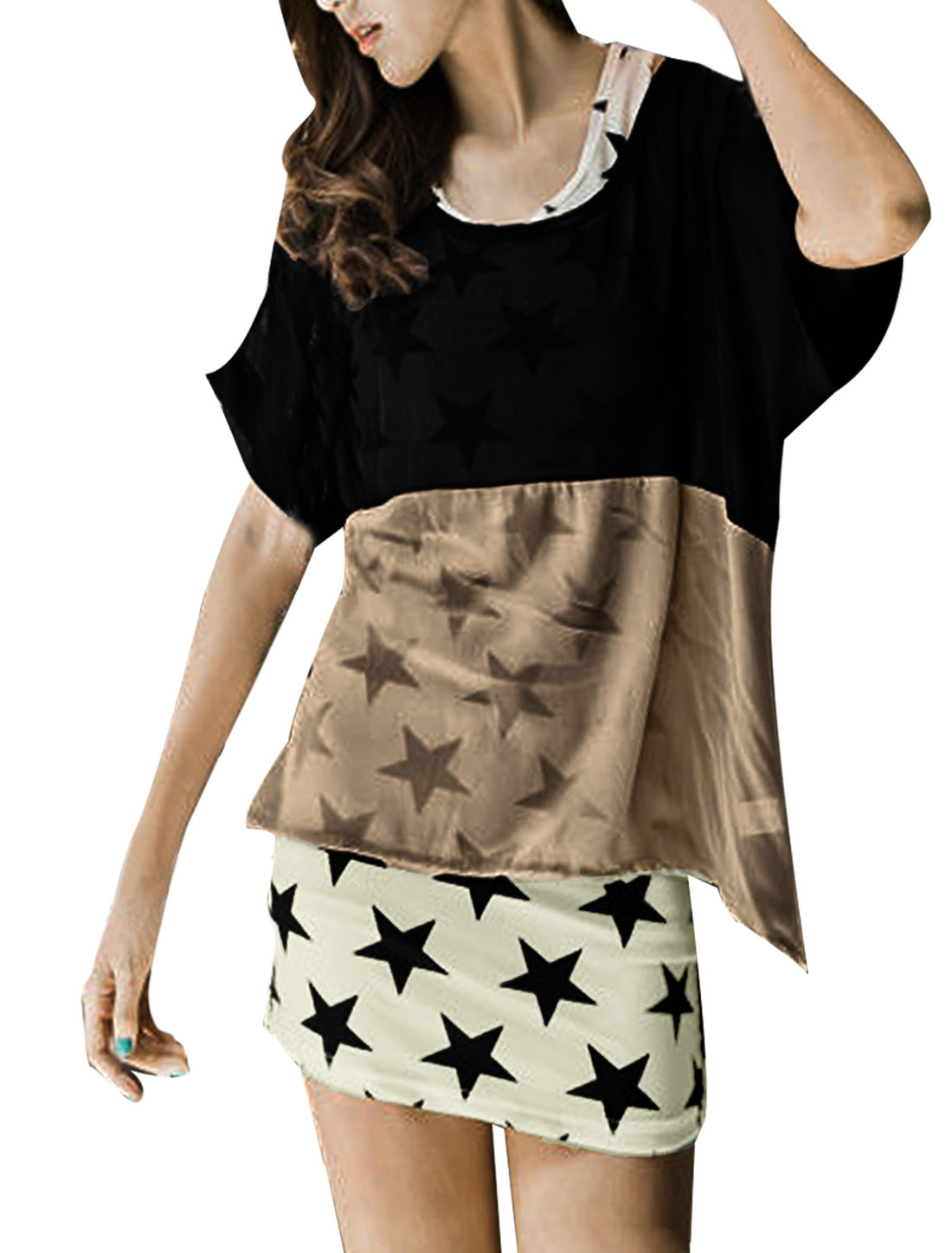 Ladies Black Khaki Scoop Neck Loose Chiffon Shirt w White Black Stars Prints Tank Top XS