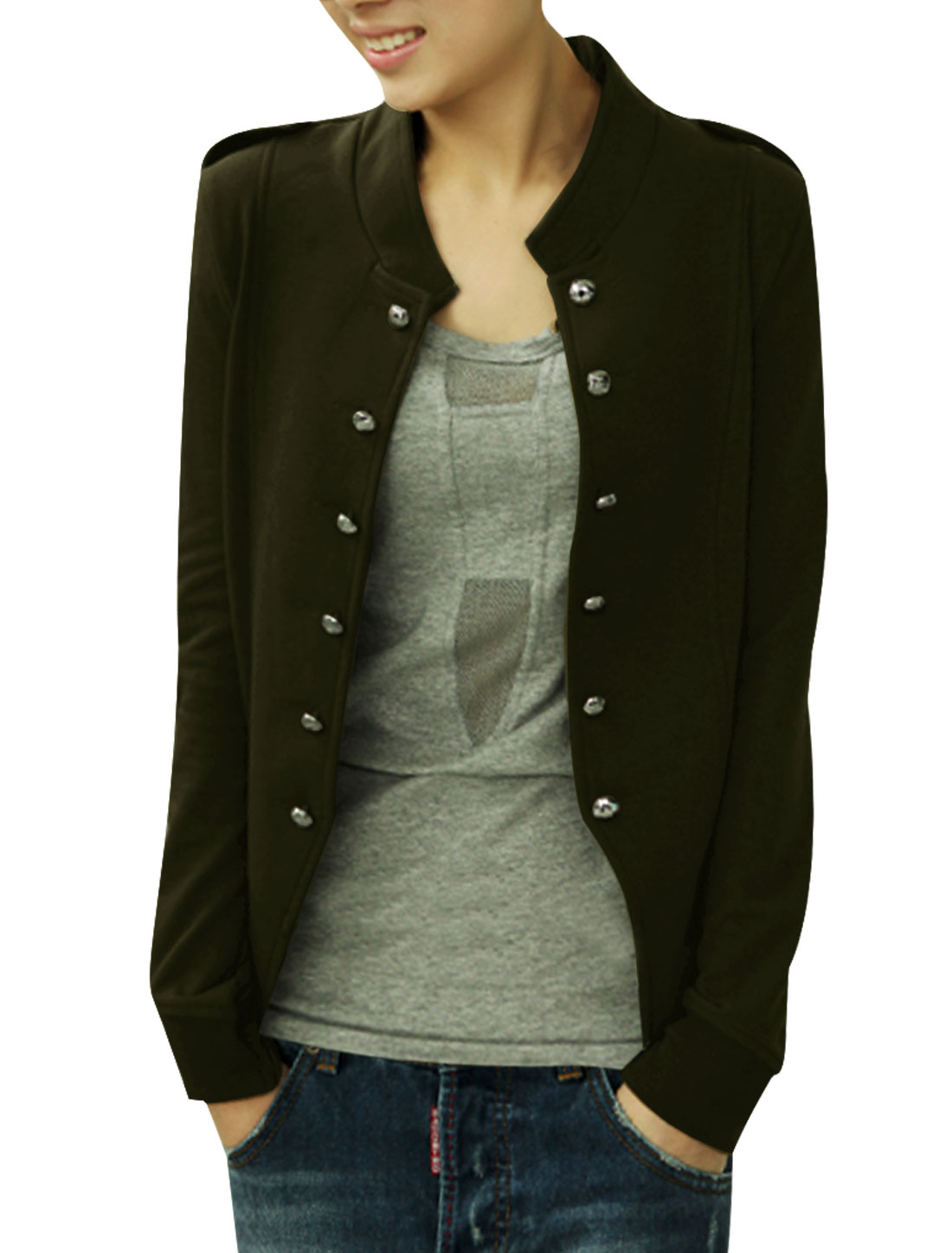 Women Stand Collar Long Sleeves Double Breasted Coat Green XS