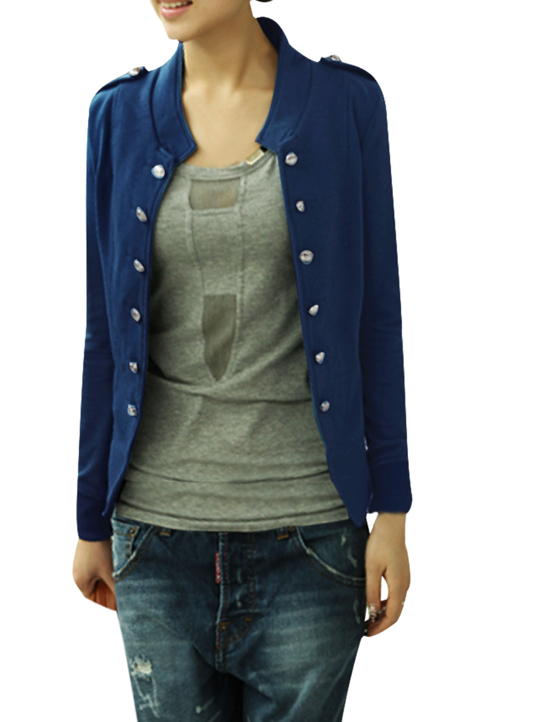Women Stand Collar Long Sleeves Double Breasted Coat Blue XS
