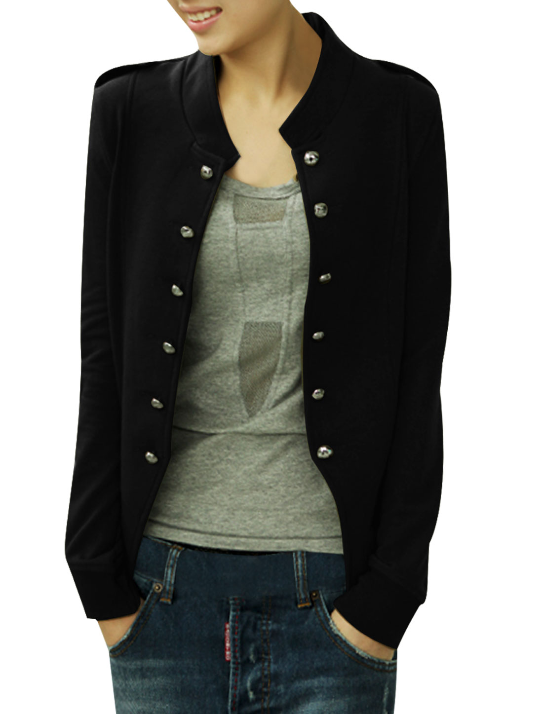 Women Stand Collar Long Sleeves Double Breasted Coat Black XS