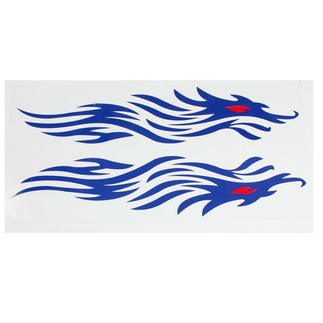 Pair Blue Plastic Car Decorative Fire Flame Shape Blink Sticker