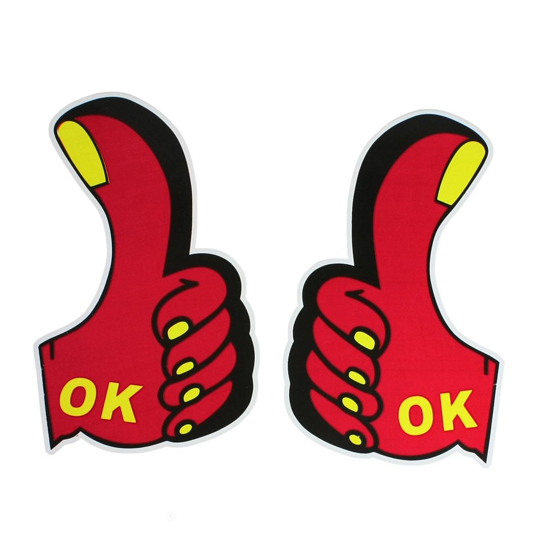 2 Pcs Red Yellow OK Letters Printed Car Decorative Big Thumb Shape Sticker