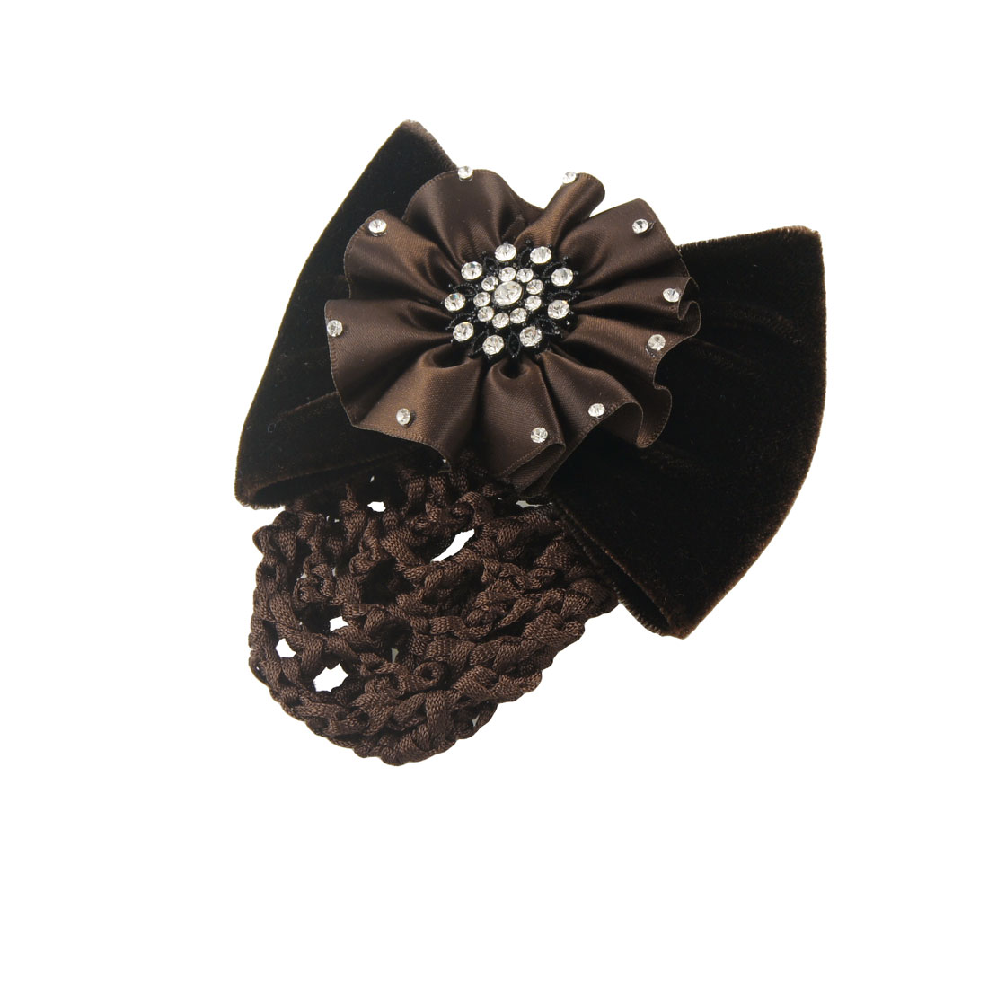 Woman Dark Brown Polyester Flower Velvet Bowknot Snood Hairclip