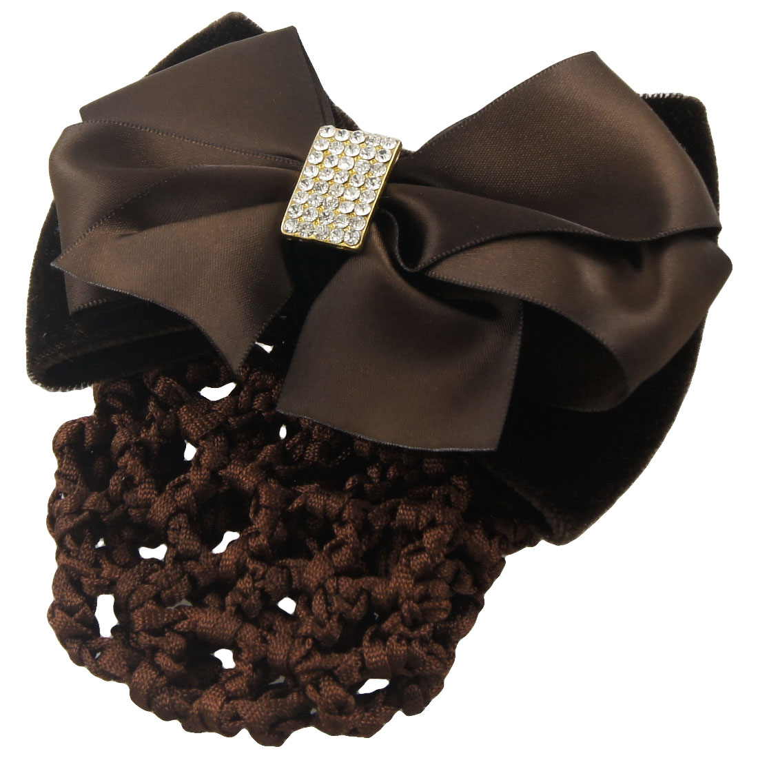 Woman Dark Brown Ribbon Velvet Bowknot Decor Snood Hairclip