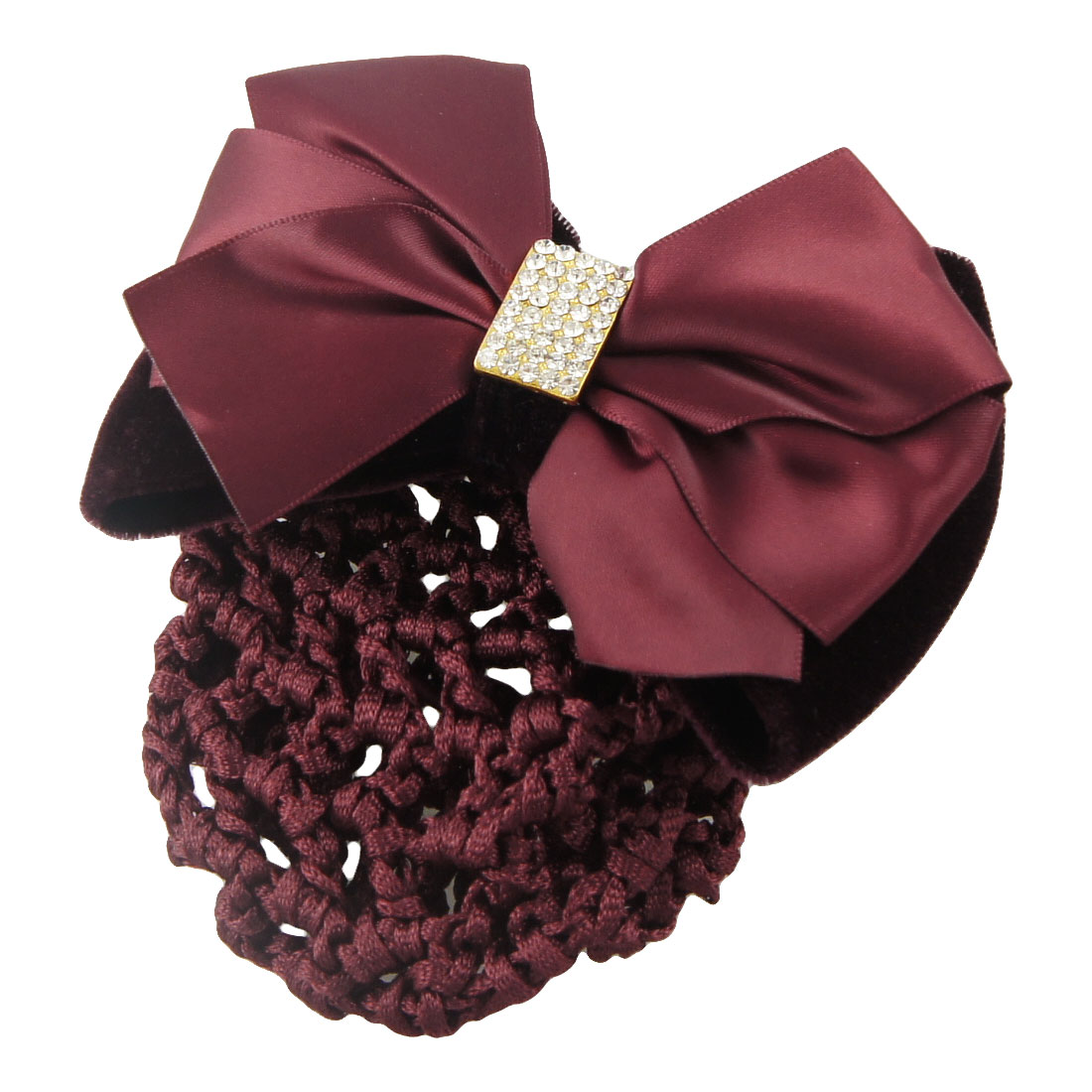 Lady Burgundy Ribbon Velvet Bowknot Decor Snood Hairclip Barrette