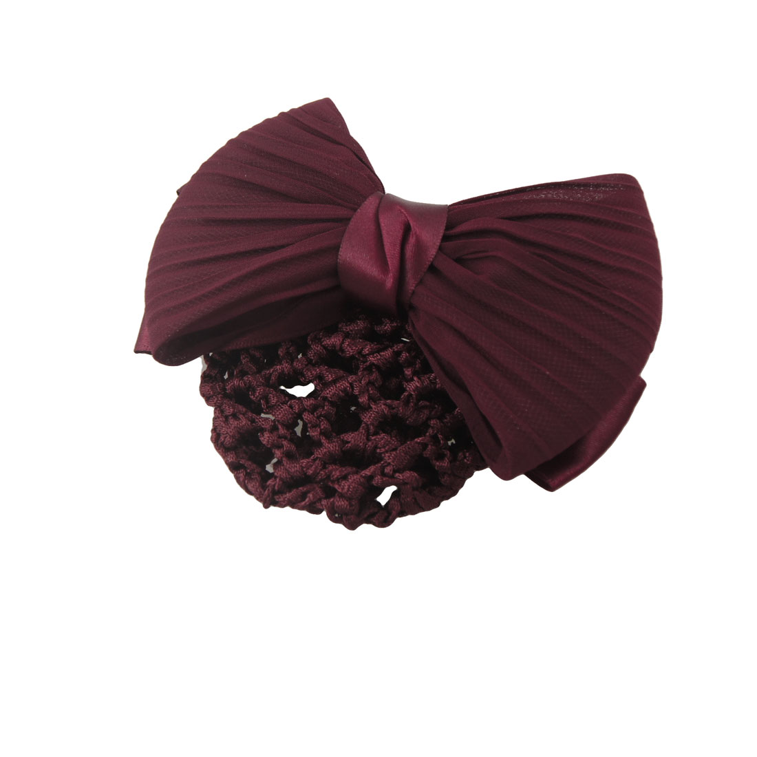Ladies Burgundy Double Layer Bowknot Accent Snood Net Hairclip