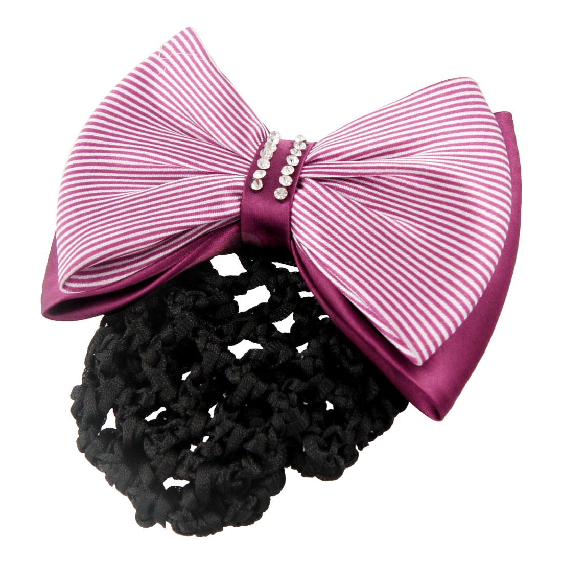 Woman Burgundy White Stripe Bowknot Decor Snood Net Hairclip