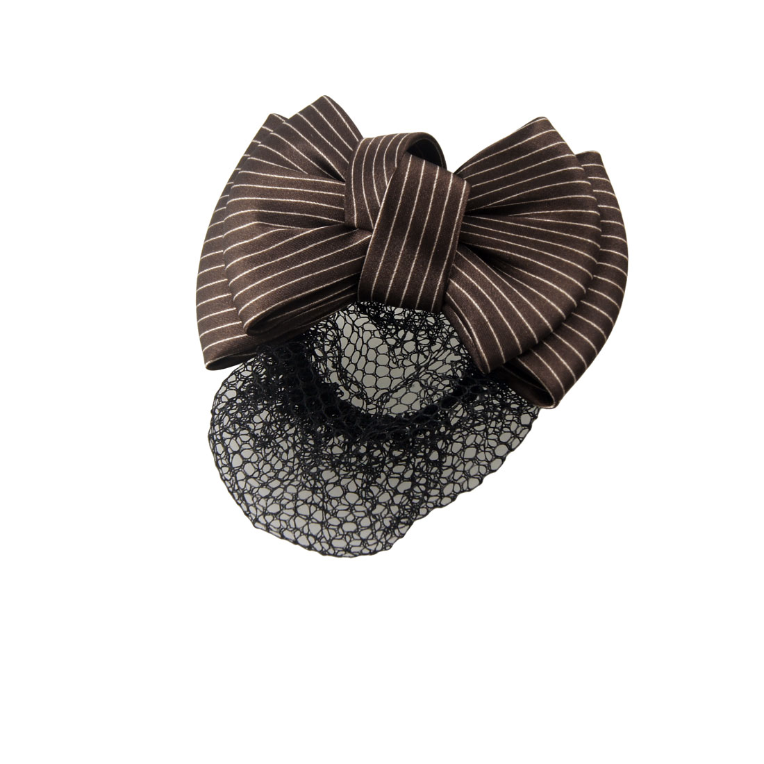 Women Brown White Striped Pattern Bowknot Accent Snood Hairclip
