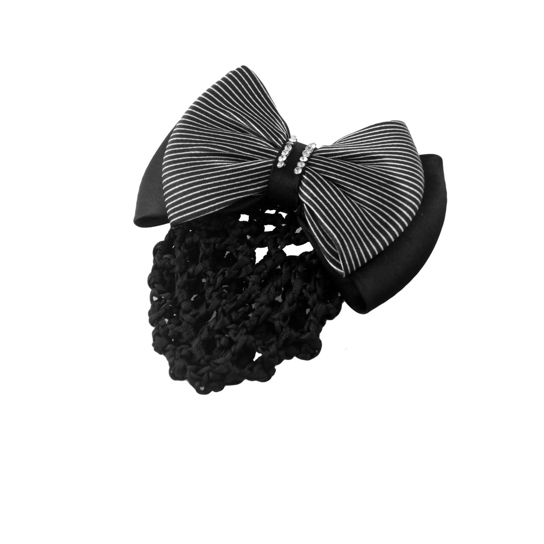 Woman Black White Stripe Bowknot Decor Snood Hairclip Barrette