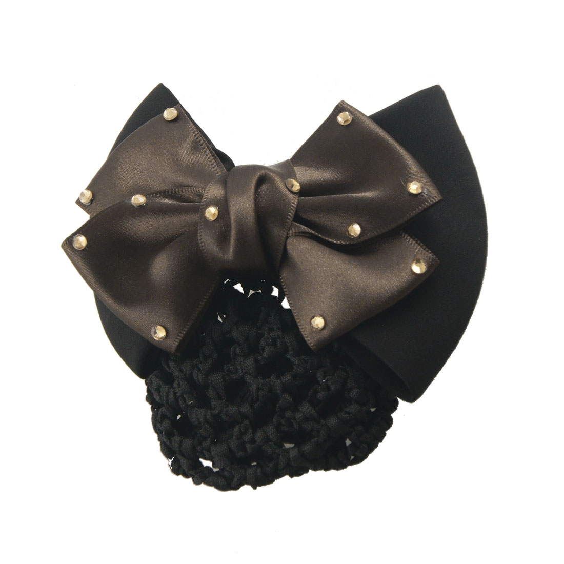 Nurse Black Hair Net Brown Ployester Bowtie Embellished French Clip Hairclip
