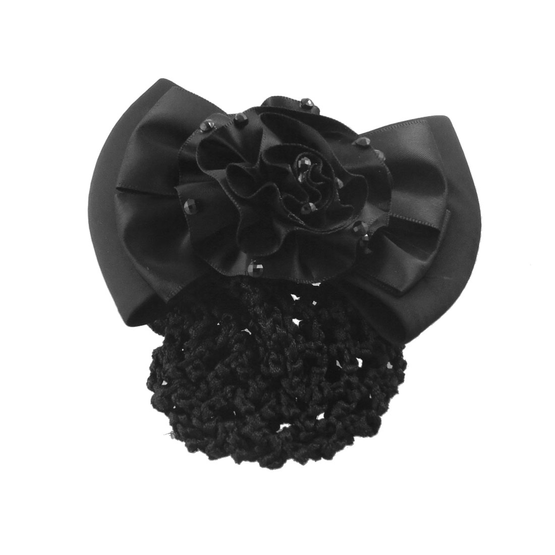 Black Ployester Flower Centering Bowtie Detail Embellished French Clip Hairclip