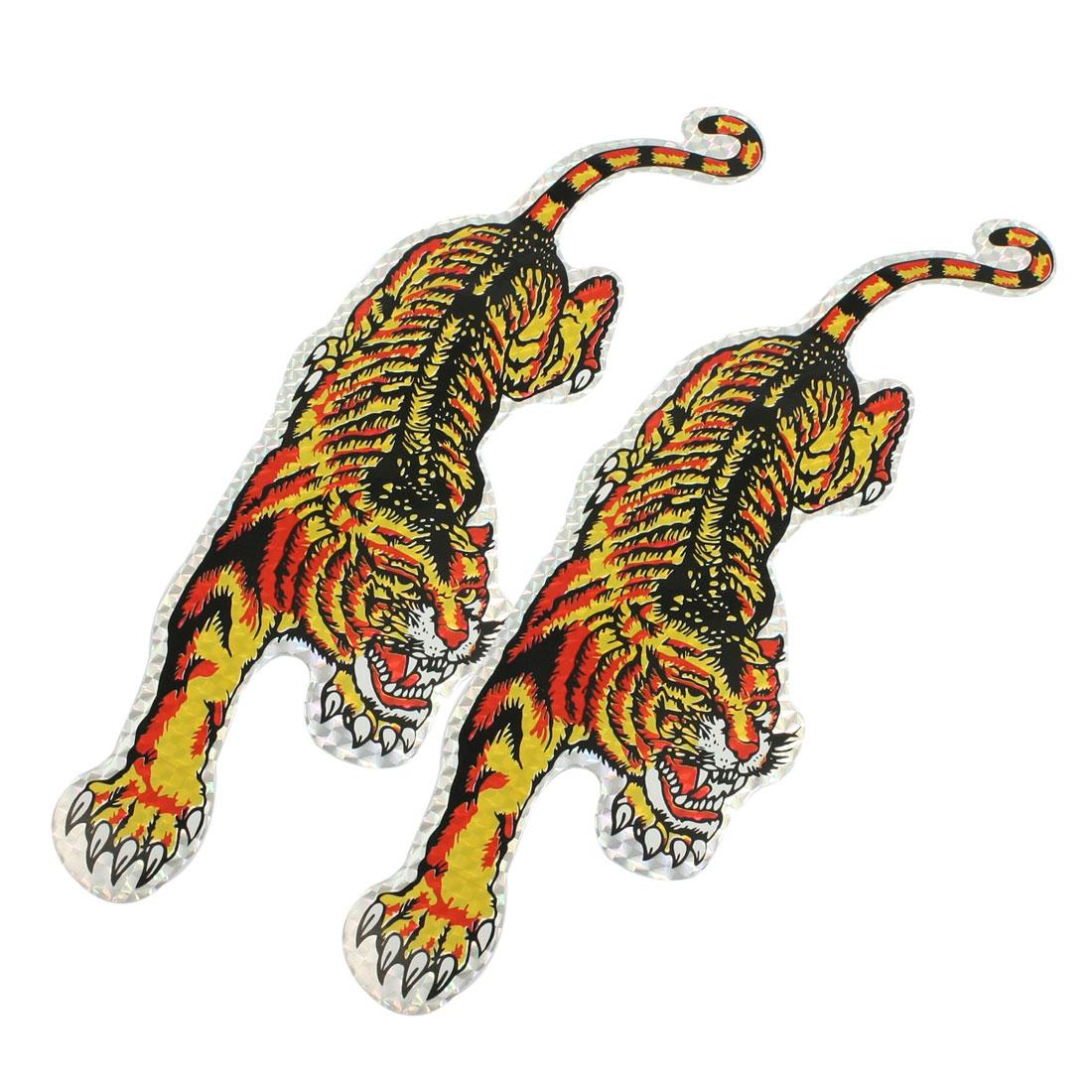 "2 Pcs Tri Color Tiger Design Blink Decal Decoration Car Sticker 11.8"" x 3.5"""