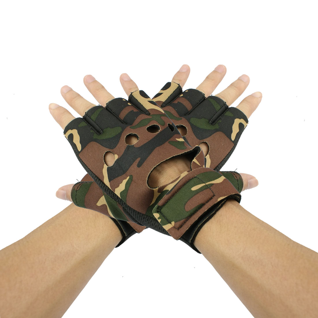 Green Brown Camouflage Pattern Black Half Finger Sports Glove Pair