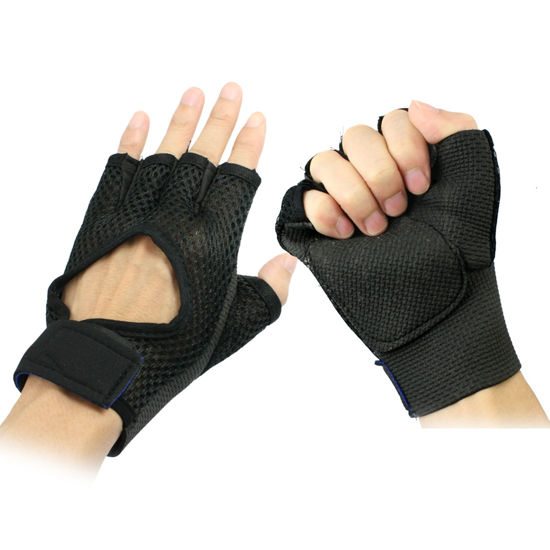Adult Sports Mountain Bike Cycling Half Finger Glove Pair Black