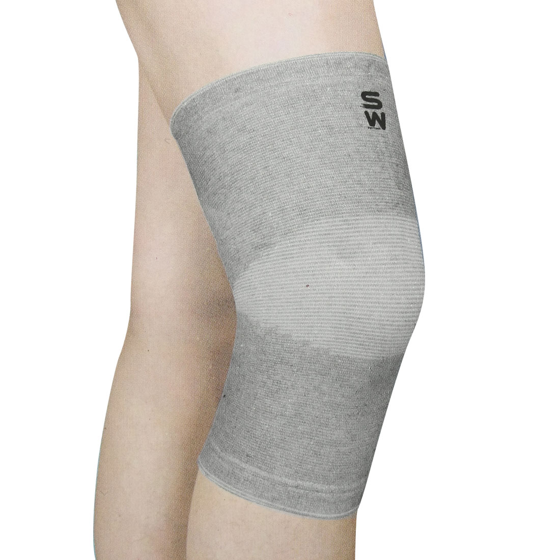 Gray White Hoop Loop Fastener Elastic Sports Knee Support Brace Protector