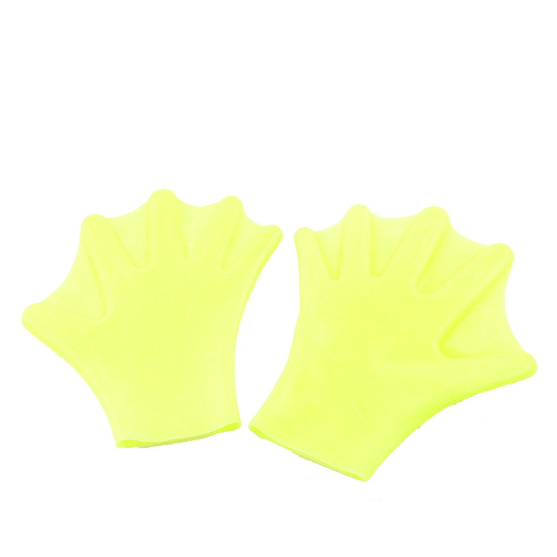 Pair Yellow Soft Silicone Swimming Dive Paddles Webbed Gloves