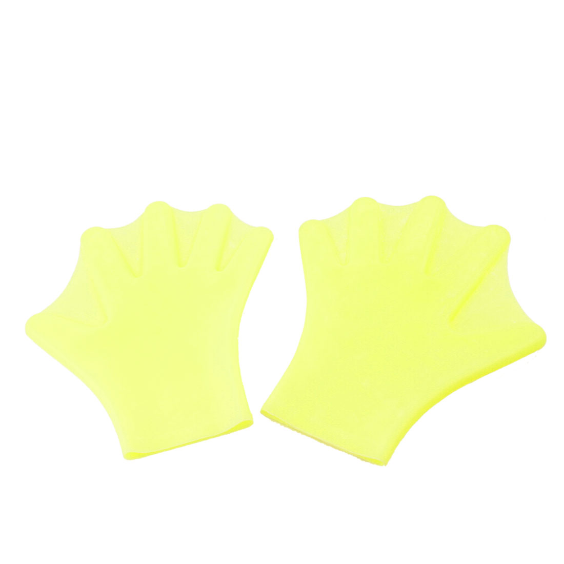 Adult Pair Yellow Swim Swimming Dive Paddles Webbed Gloves
