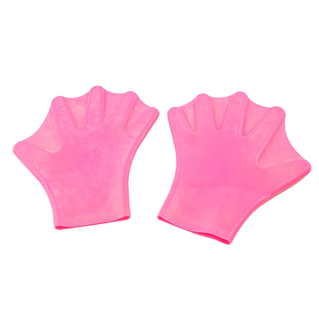 Pair Fuchsia Swim Swimming Dive Paddles Webbed Gloves for Adult