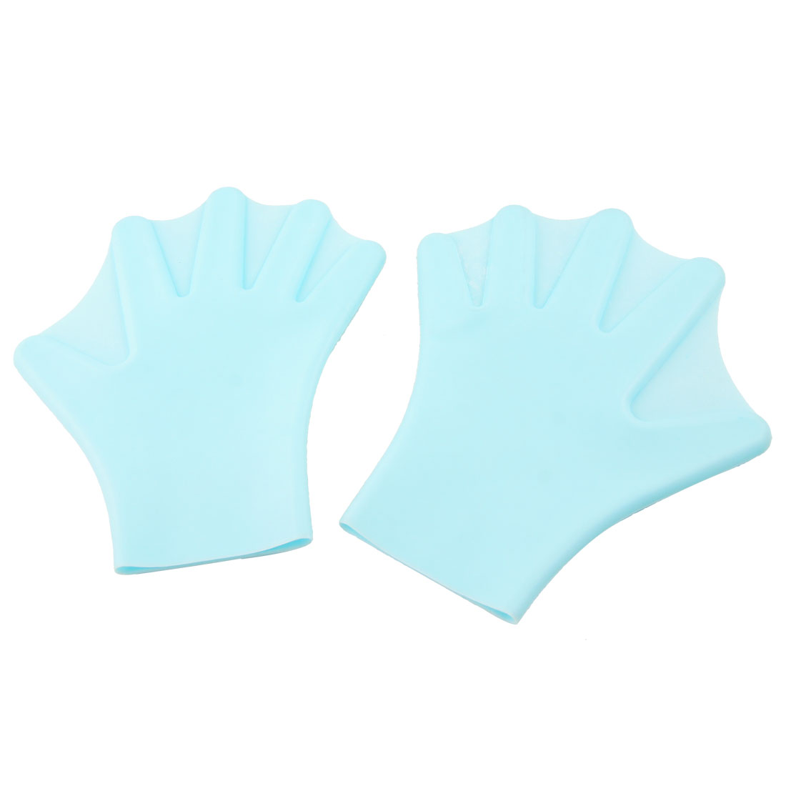 Adult Pair Light Blue Swim Swimming Dive Paddles Hand Webbed Gloves