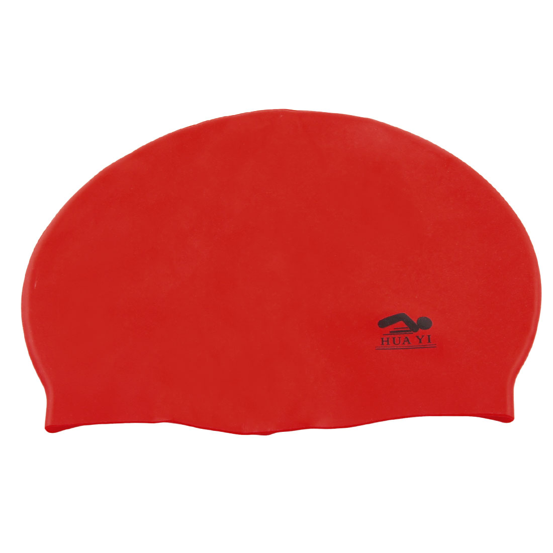 Red Soft Silicone Inside Grains Design Swimming Cap for Adult