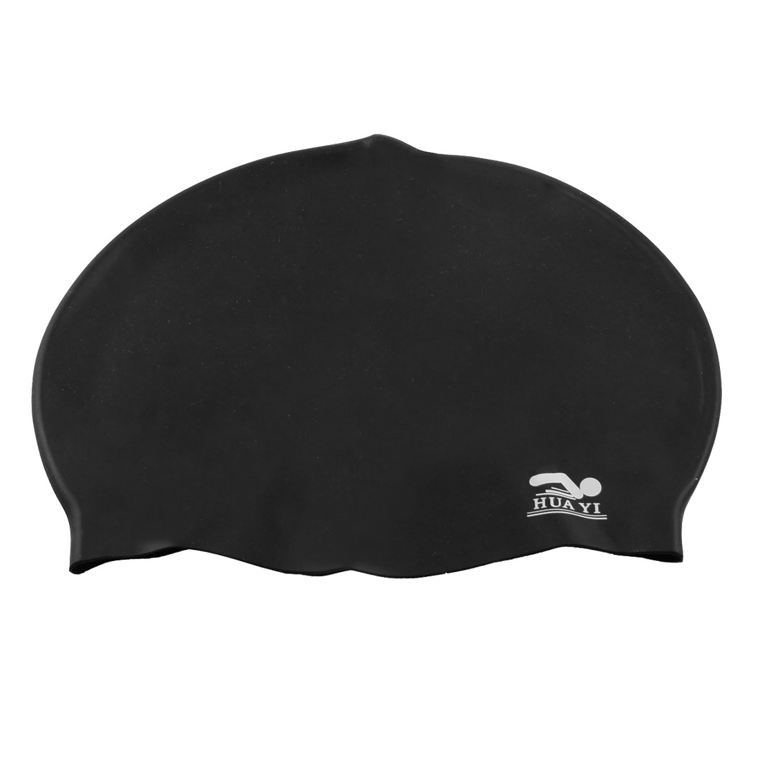 Black Soft Silicone Inside Grains Design Swimming Cap for Unisex