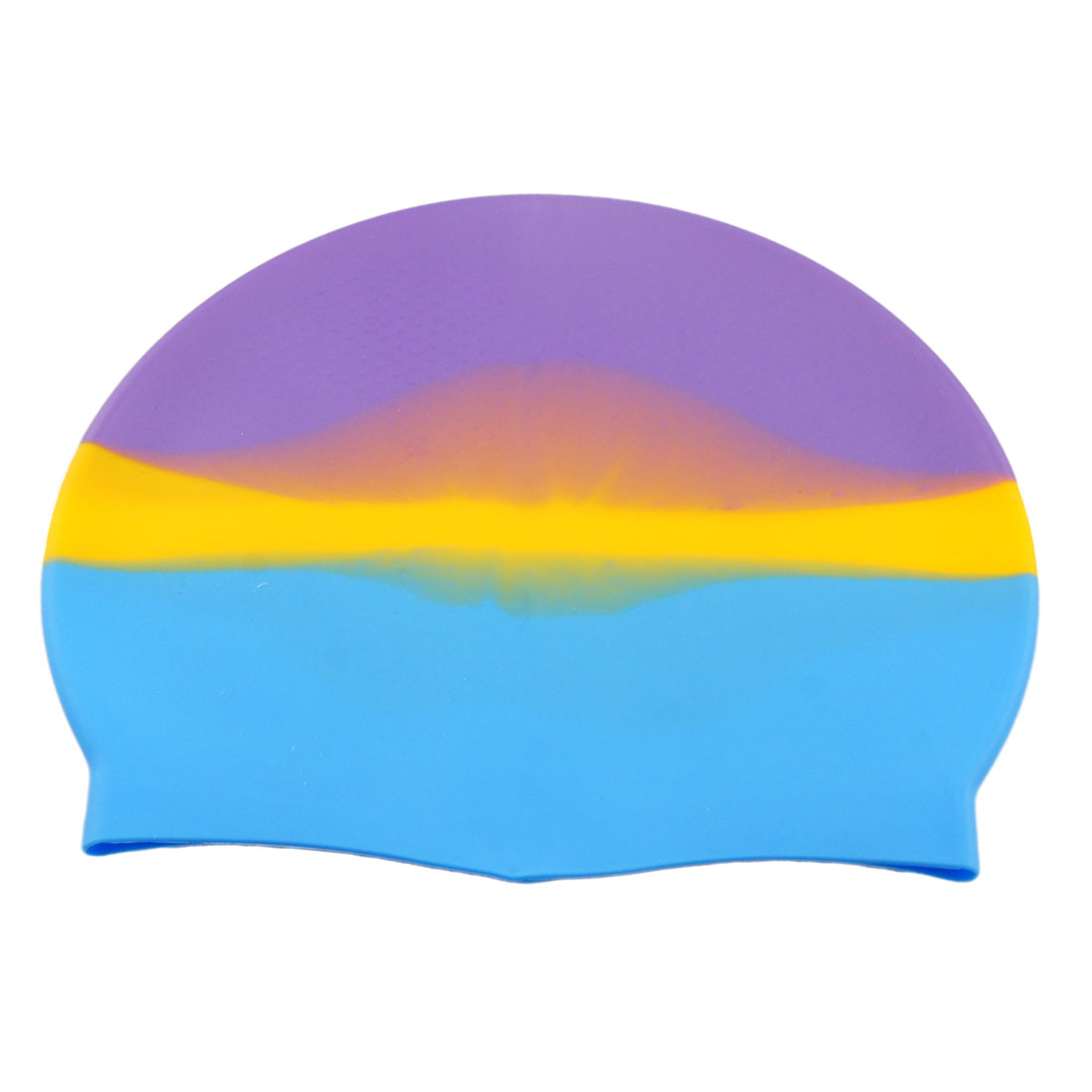 Silicone Purple Yellow Blue Stretchy Grains Design Swimming Cap for Adult