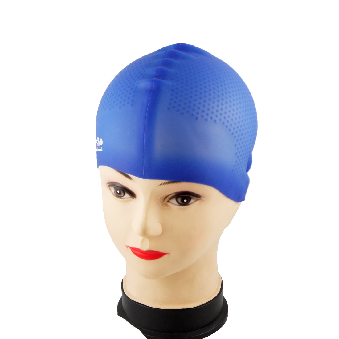 Soft Flexible Silicone Nonslip Sports Blue Swimming Cap for Adult
