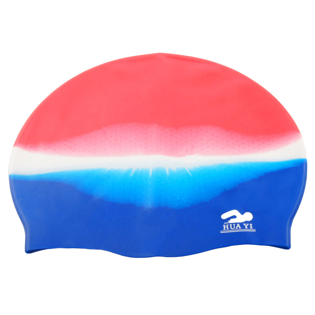 Silicone Gradient Color Stretchy Grains Design Swim Swimming Cap for Adult
