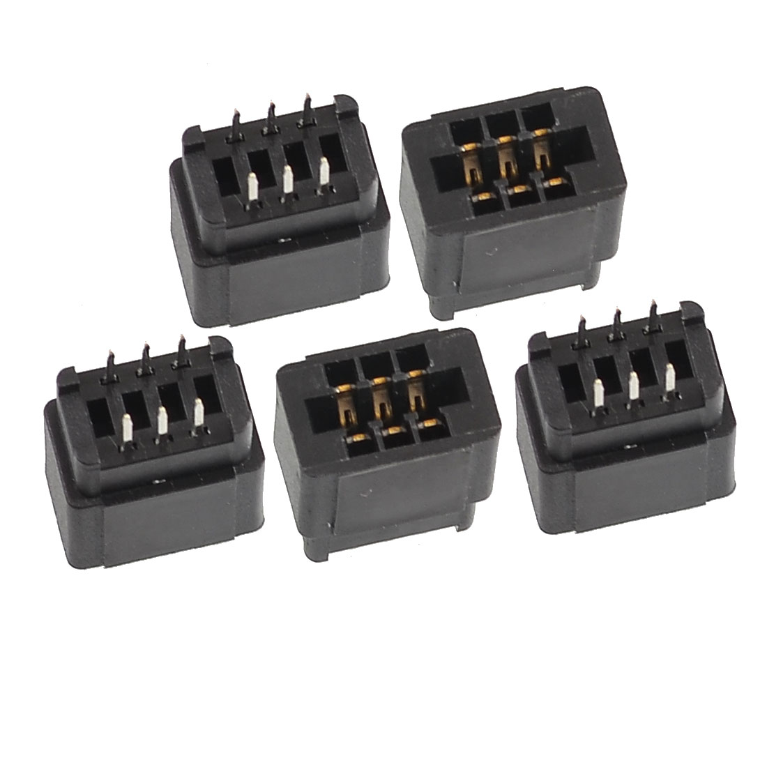 5 Pcs Black Two Rows 6 Pins 2.54mm Pitch PCB Board Socket Headers