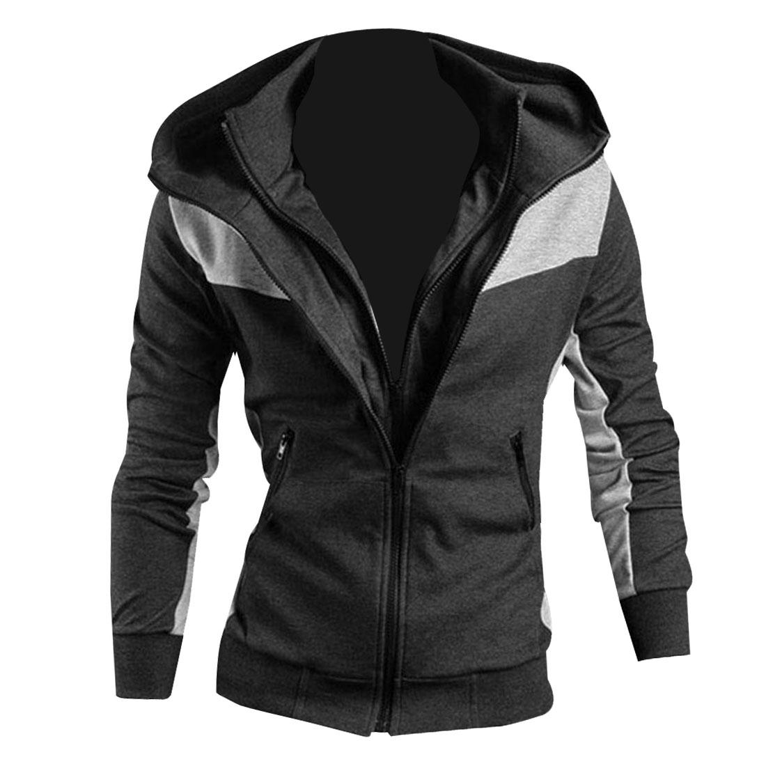 Men Dark Gray Long Sleeve Convertible Collar Zip Up Hoodie Coat XS