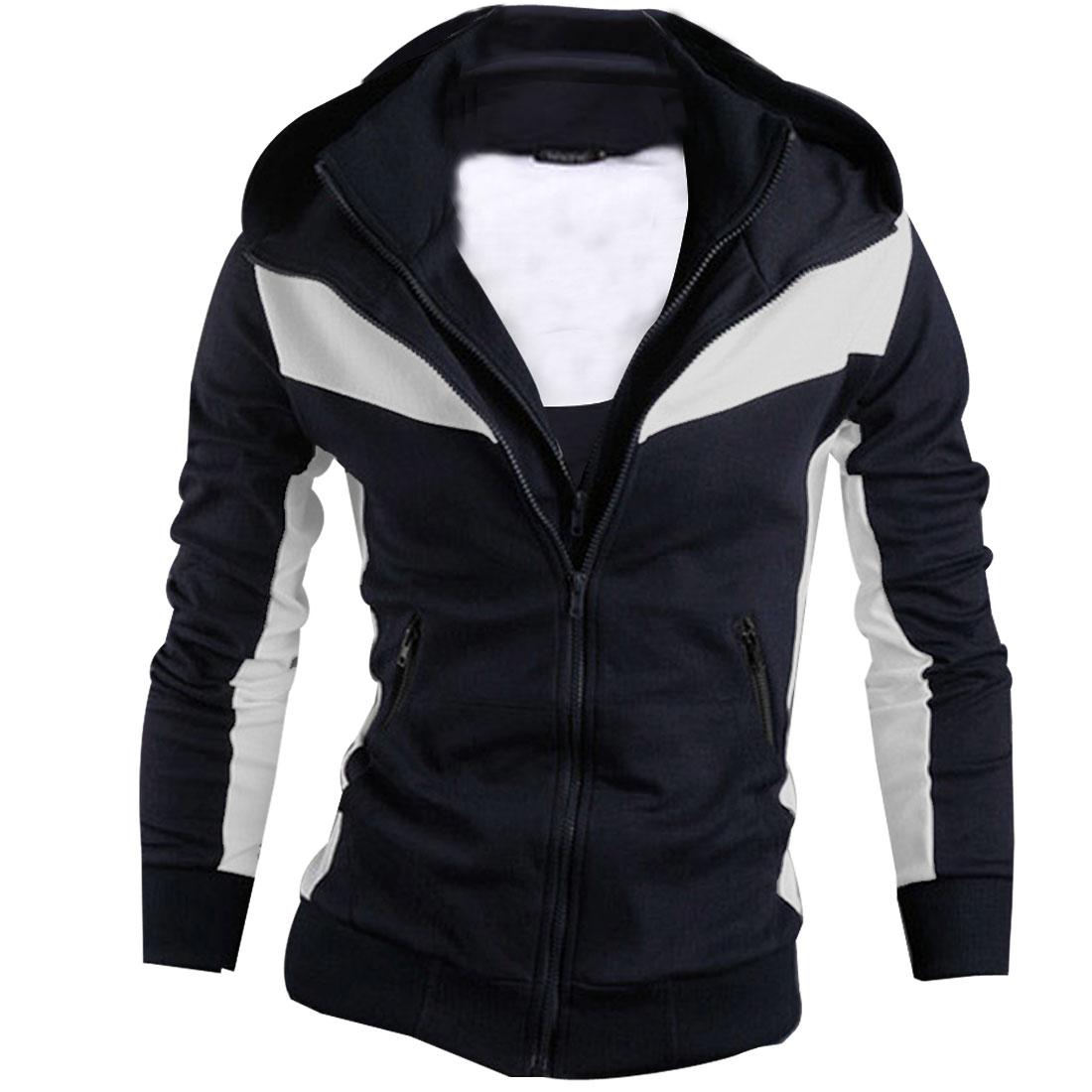 Mens Dark Blue White Long Sleeve Zip Up Casual Hoodie Coat XS