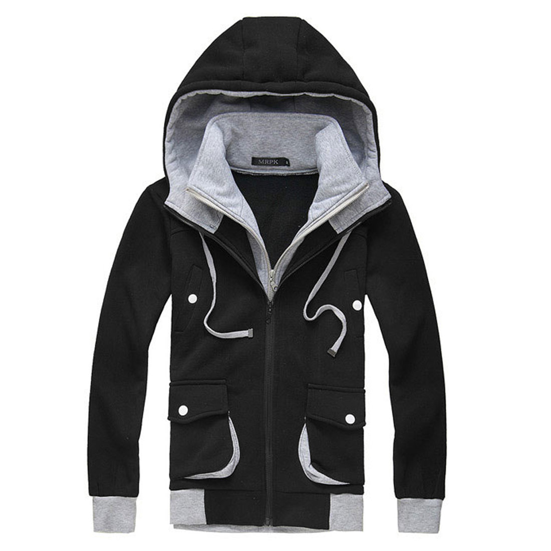 Mens Black Casual Convertible Collar Zipper Style Hoodie Coat XS