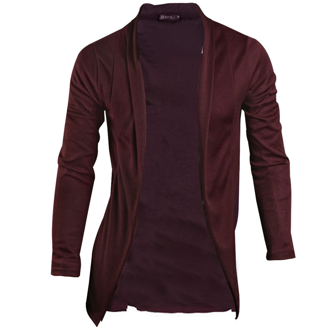 Men Burgundy NEW Long Sleeve Solid Color Simple Style Open Front Cardigan M