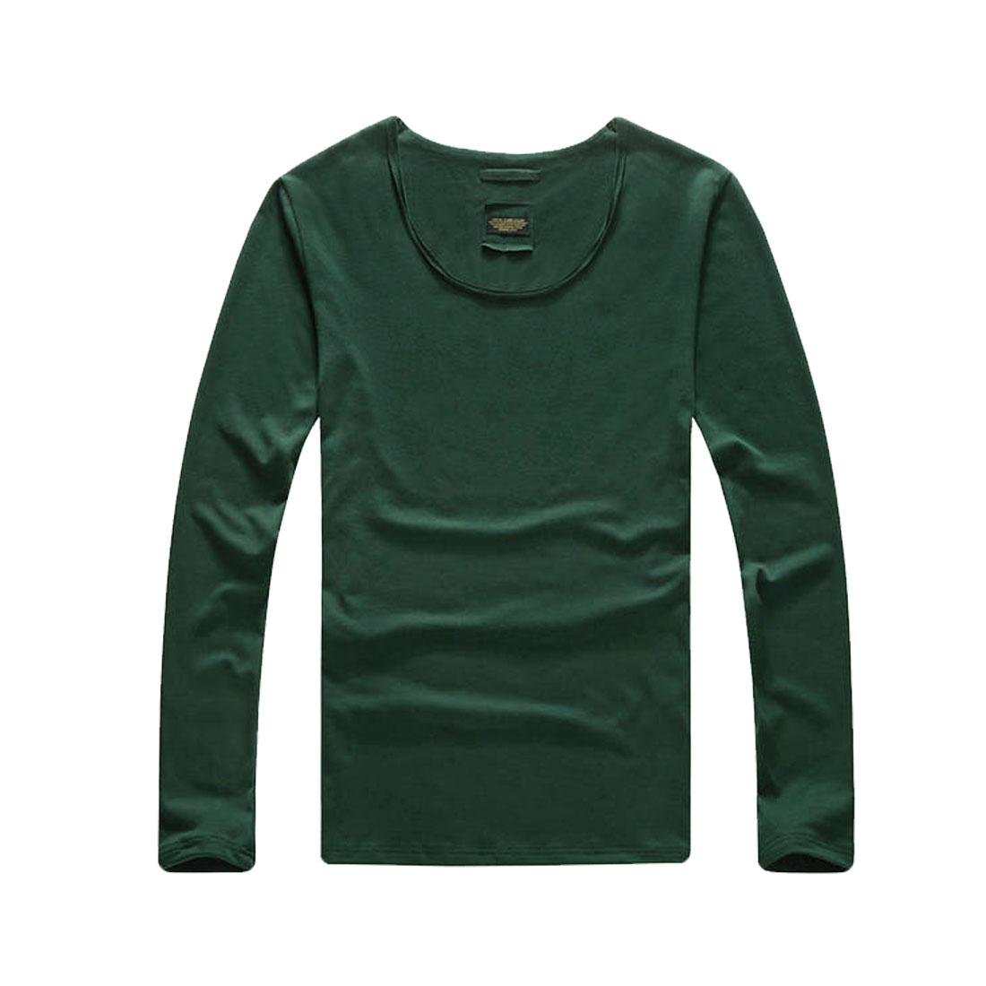 Mens Dark Green Fashion Simple Style Long Sleeve Pullover Fit Autumn Top Shirt M