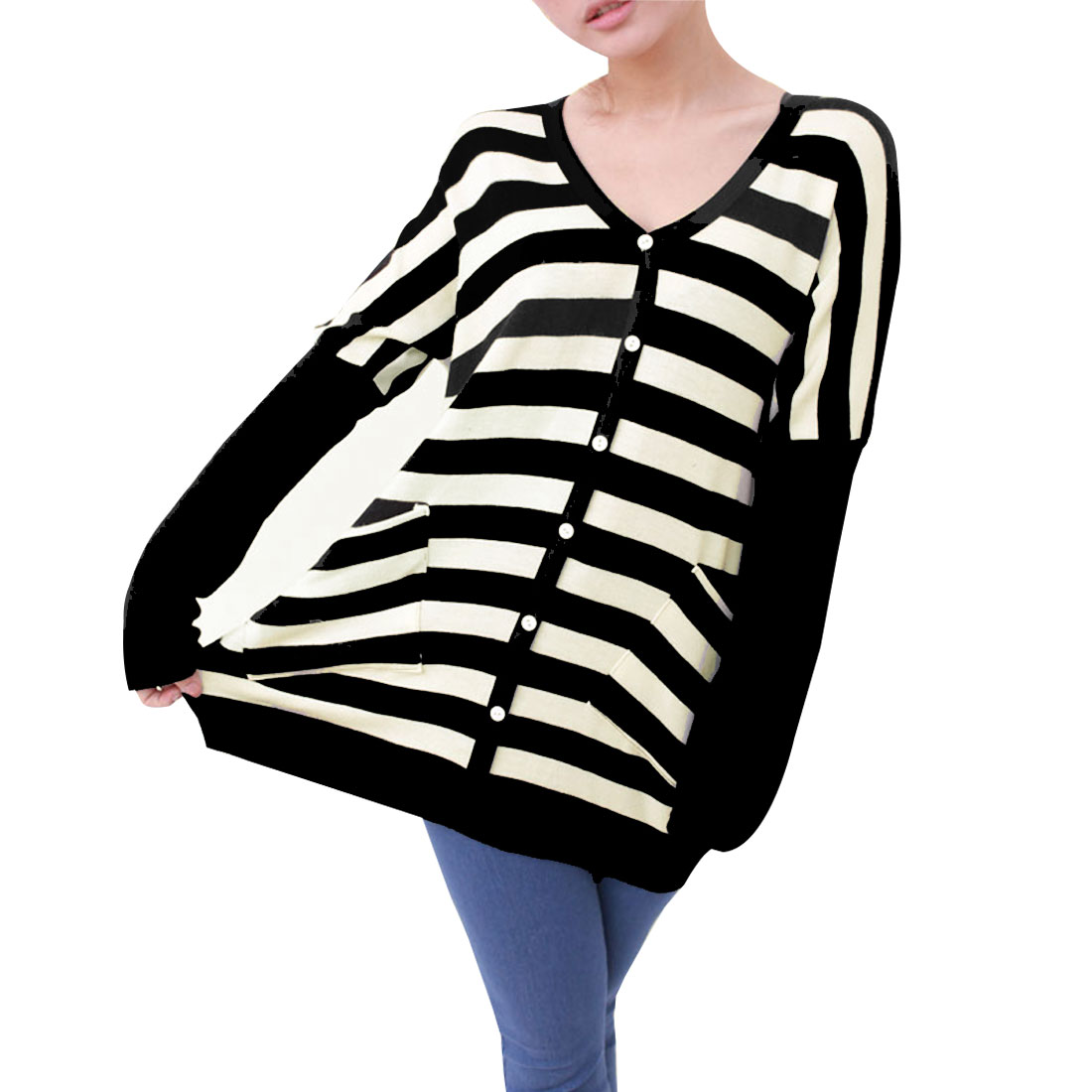 Mathernity V Neck Single Breasted Stripe Pattern Black Cardigan XS