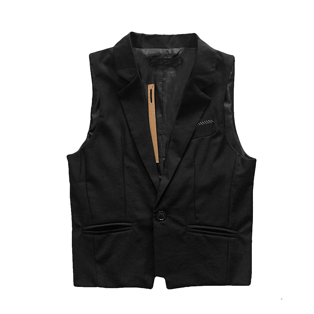 Mens Black NEW Peaked Lapel Sleeveless One Button Front Dots Detail Vest S
