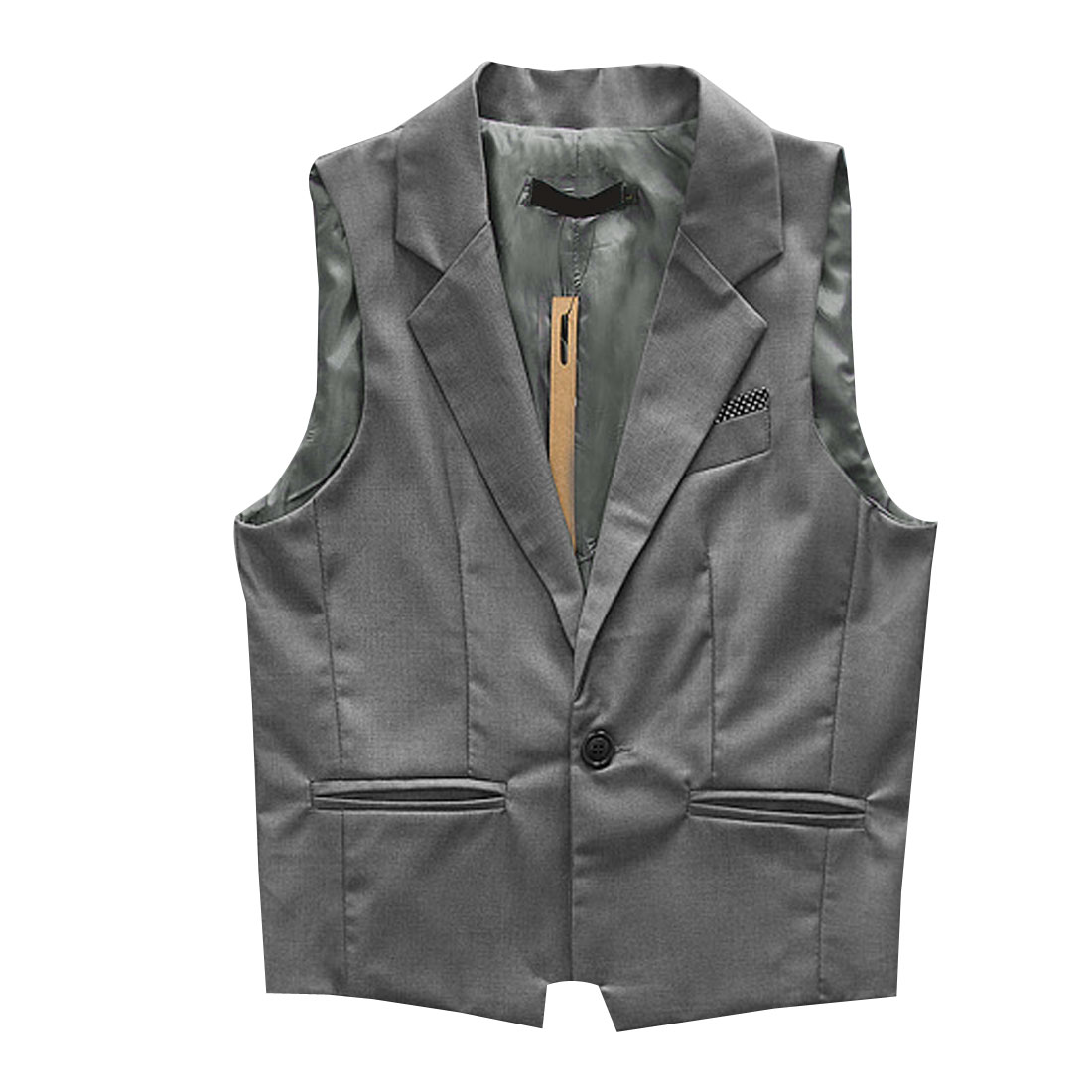 Men Medium Gray Sleeveless Dots Detail Mock Pocket Buckle Decor Back Casual Vest S