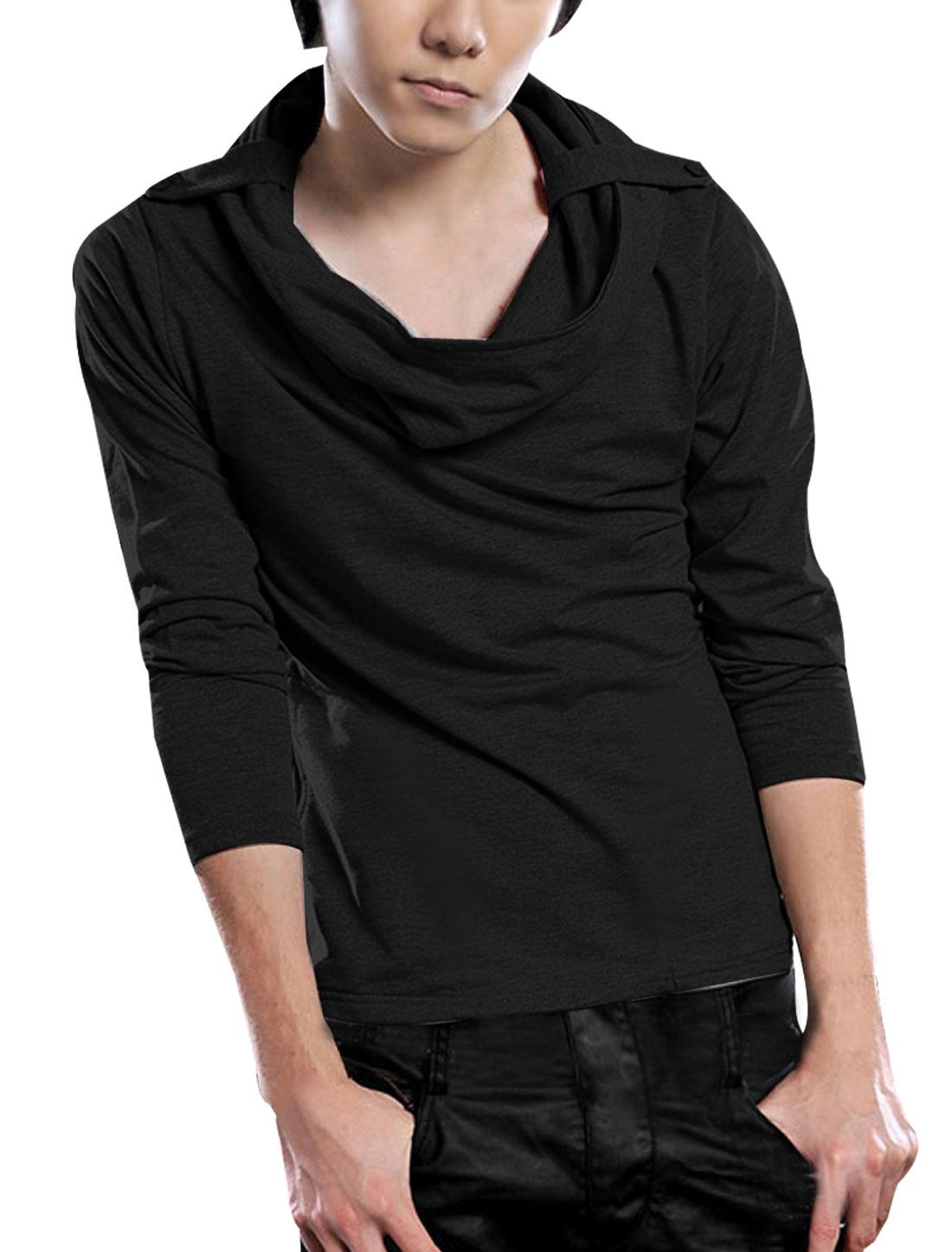 Men Black Cowl Neck Long Sleeve Casual Korean Hoodie Tee Shirt S