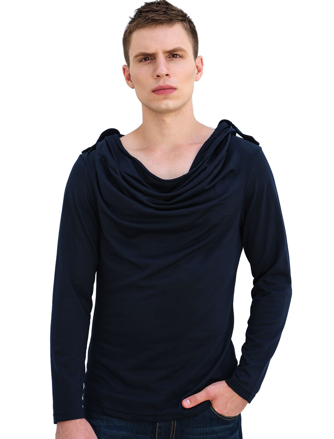 Men Dark Blue Long Sleeve Epaulets Hoodie Tee Shirt S