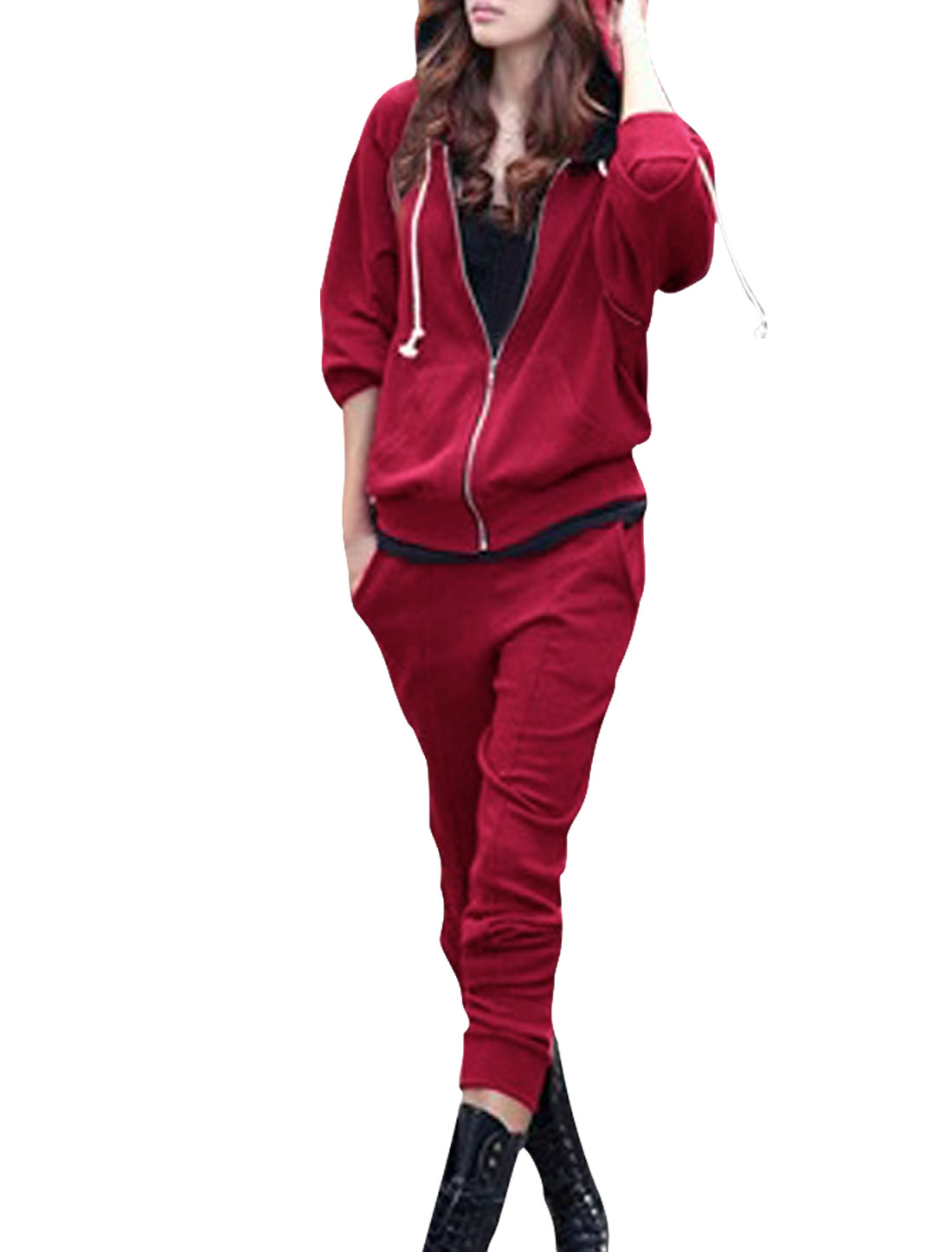 Ladies Burgundy Kangaroo Pockets Hoodie Outwear w Low Waist Cropped Pants S