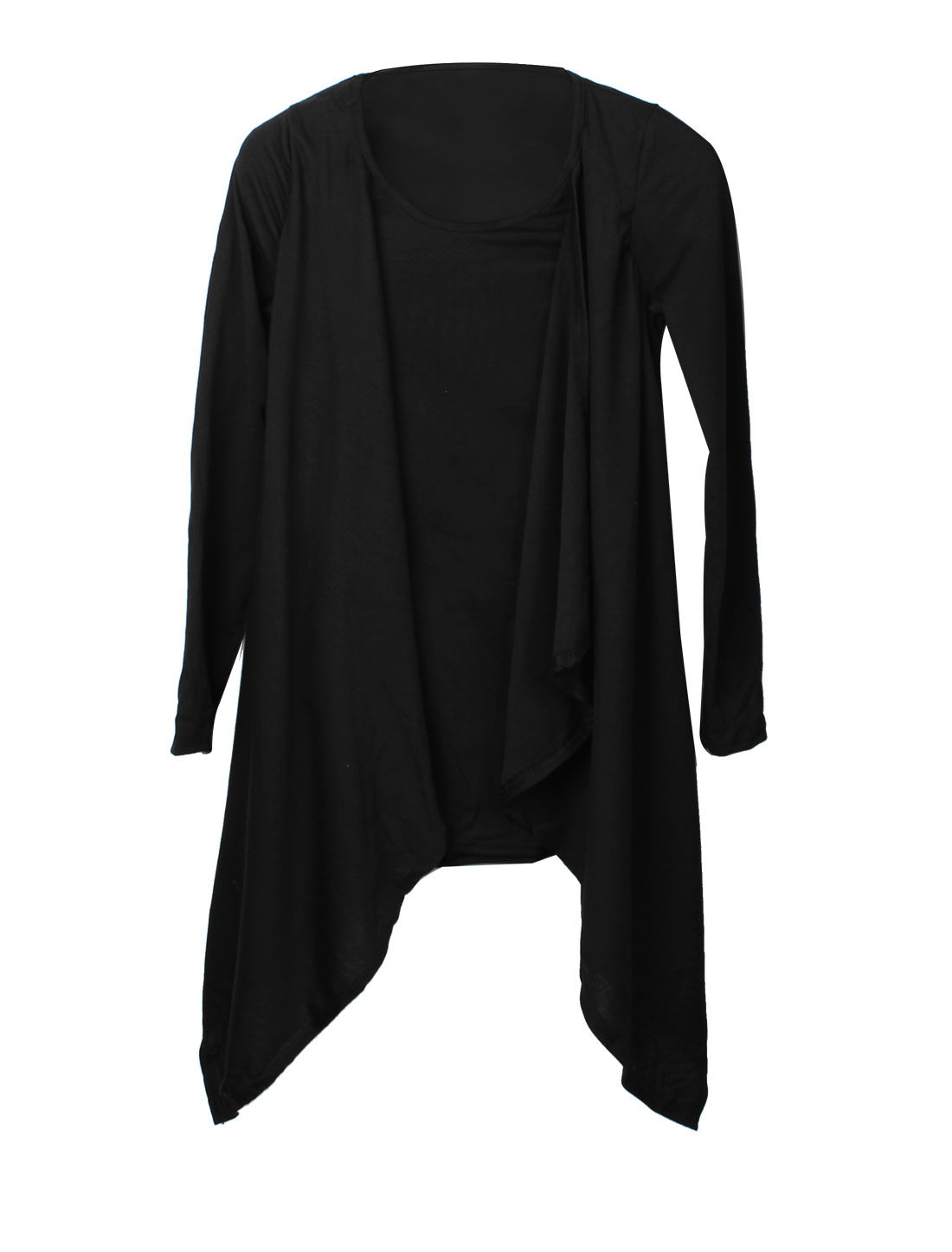 Ladies Long Sleeve Drap Collar Scarf Hem Details Stretch Black Blouse XS