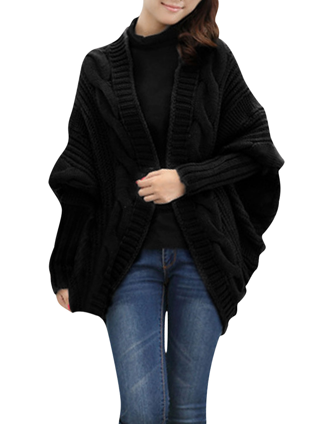 Ladies Black Batwing Sleeve Chunky Kintting Shell Shape Design Sweater S