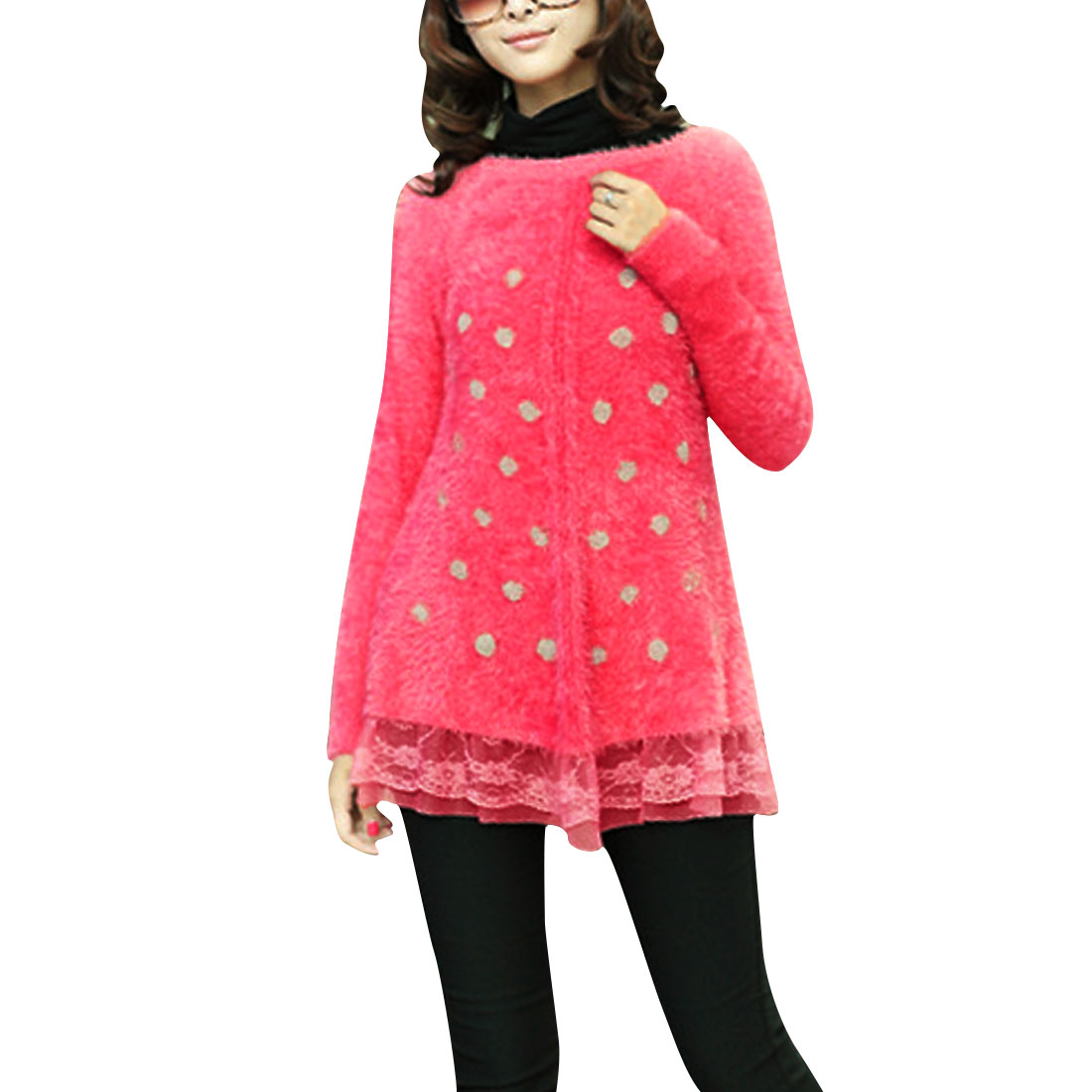 Ladies Long Sleeve Round Neck Dots Pattern Red Rabbit Plush Sweater XS