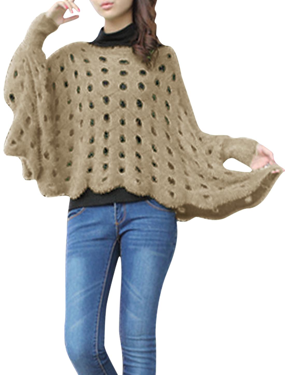Ladies Coffee Round Neck Dolman Sleeve Scalloped Hem Plush Sweater Smock XS