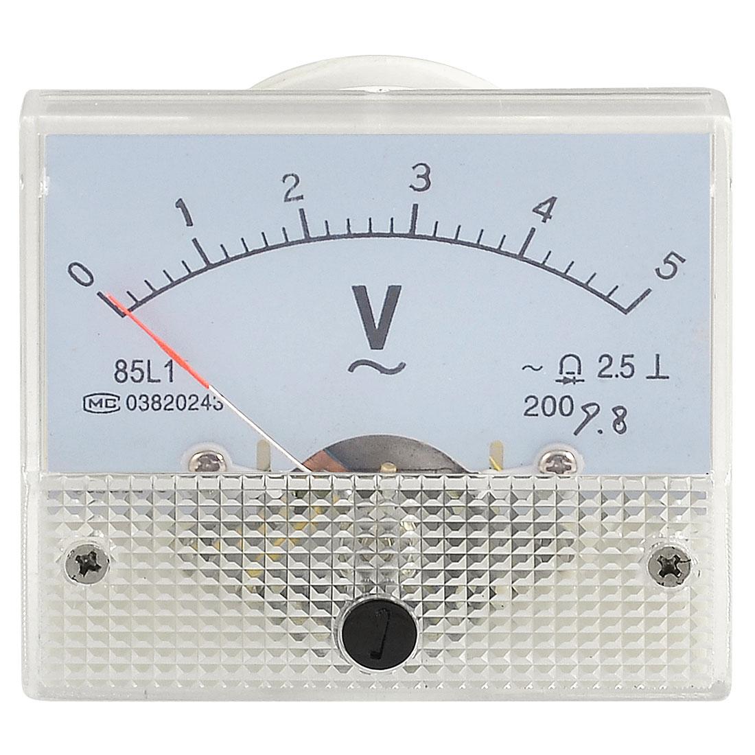 Screw Mounted Plastic Shell Voltage Test Analog AC 0-5V Voltmeter Gauge