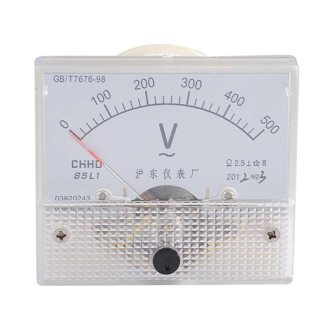 Screw Mounted Plastic Shell AC 0-500V Analog Pointer Voltmeter Panel